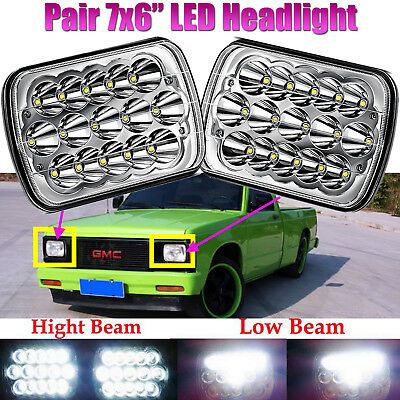 For GMC Sonoma Savana 7x6 LED Headlight Crystal Clear Hi/Lo Sealed Beam Headlamp