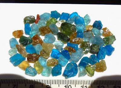 25g NATURAL APATITE BLUE - GREEN - YELLOW  rough NATURAL CRYSTAL LOTS