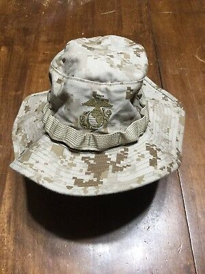 Military Issue USMC Marine MARPAT Desert Camo Boonie Field Cover Hat EGA small