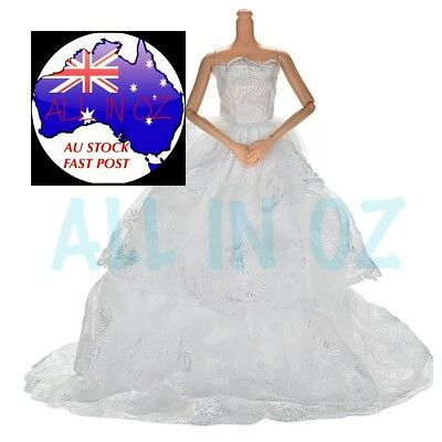 Barbie Doll Wedding Gown Hand Made Clothes Dress Party Formal Outfit