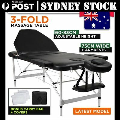 75CM Portable Aluminium 3 Fold Massage Table Therapy Waxing Beauty Bed Black ON