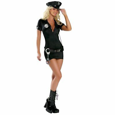Woman Black Cop Police Uniform Costume Outfit Skirt Party Sexy Fancy Dress