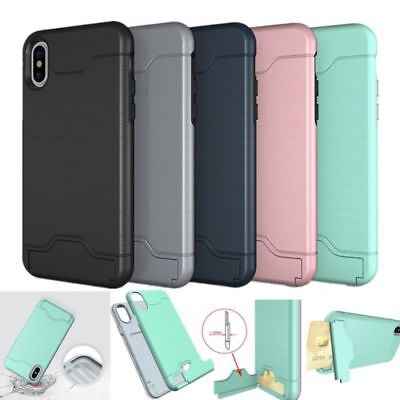 Shockproof Ultra Thin Slim Rugged Card Holder Case Cover For iPhone X 8 7 Plus 6