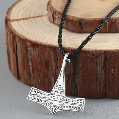 Vintage Men Jewelry Viking Norse Thor's Hammer Mjolnir Leather Cord Necklace