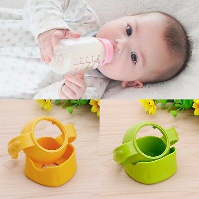 Newborn Baby Glass Bottle Easy Grip + Base Standard Handles Holder Trainer