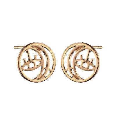Cute Tiny Round Moon Earring Gold Silver Evil Eye Crescent Moon Small Earrings