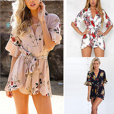 Womens Summer Floral Short Sleeve Mini Playsuit Beach Holiday Jumpsuit Romper