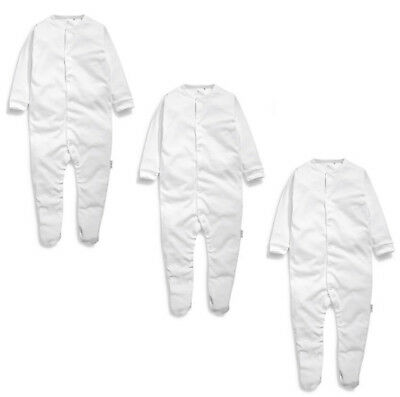 Baby Boys Girls Sleepsuits 3 Pack White Multipack Ex Next Cotton Baby Grows New
