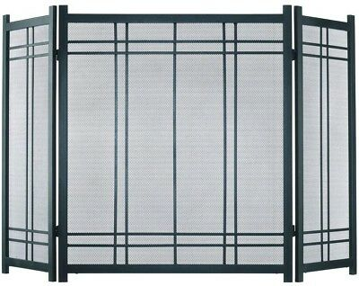 Fireplace Screen 3 Panel Vintage Iron w Handles Durable Steel Nickel Stands Tall