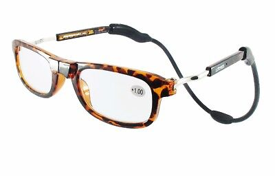 Loopies Magnetic Reading Glasses Tortoise Shell with Flexi Neck Loop 75% OFF RRP