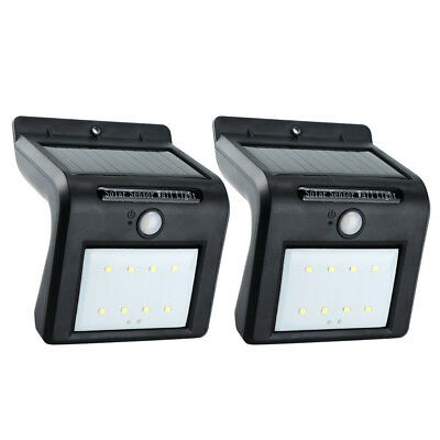 2PCS Outdoor Waterproof Solar PIR Motion Sensor LED Wall Light Garden Lamp NEW