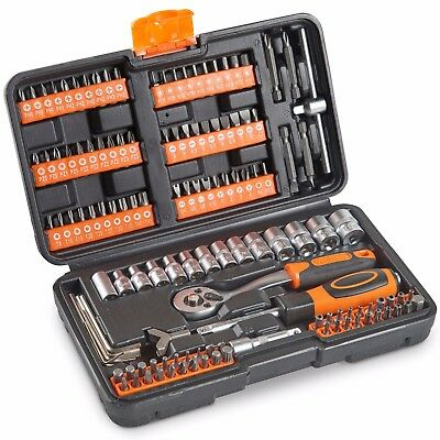 VonHaus Socket Set 130pc + Screwdriver Bit Set Including 72-teeth Ratchet Handle