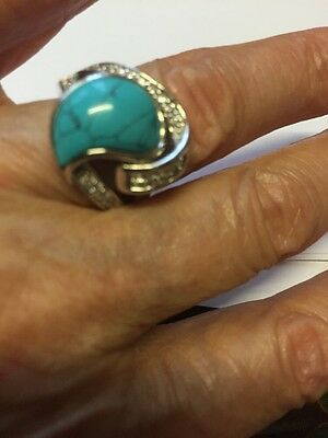 Turquoise Ring Set In Sterling Silver  Size O