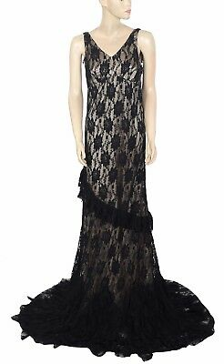 92493eae5d 154977 New Free People Floral Pattern Ruffle Black Long Maxi Gown Dress  Small S