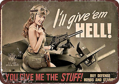 1943 U.S. WWII Vintage women US ARMY Reproduction metal Sign 8 x 12
