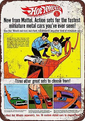 1968 Hot Wheels Action Sets Vintage Look Reproduction Metal Sign 8 x 12 USA