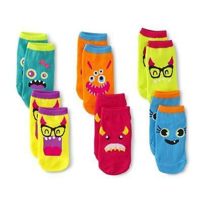 WonderKids Toddler Girl's 4-5 yrs 6-Pairs Low-Cut Socks Colorful Silly Monsters