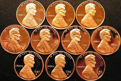 1980~1989 S Lincoln Penny Gem Proof Run 10 Coin Decade Set US Mint Lot