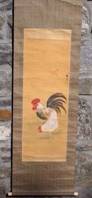 "Antique Chinese Asian Scroll Painting of Hen & Rooster w/ Box ~ 62"" x 17"""