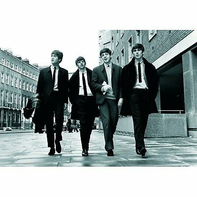 The Beatles Walking In London Black White Photograph Picture Postcard Official