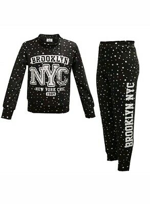 New Girls New York Chic Star Black Tracksuit Loungewear Top & Leggings Age 7-13