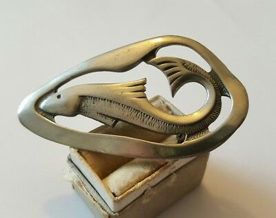 RARE VINTAGE 70's SCOTTISH CEARD Pewter Brooch/Pin 'LOCH FYNE'-COLLECTABLE