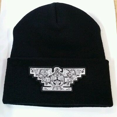 0ce958fe156 MENS CHICANO LOWRIDER Hat Aztec Bird Custom Design Winter Beanie Silver    Black -  18.00