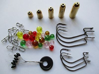47Teile Texas Rig Finesse Set / Bullets Glasperlen Haken Snaps Wide Gap Carolina