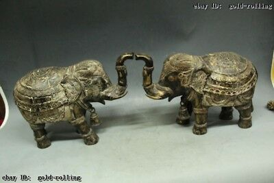 Tibet Excellent Old Purple Bronze carved Two Lucky elephant Statue Pair Statue