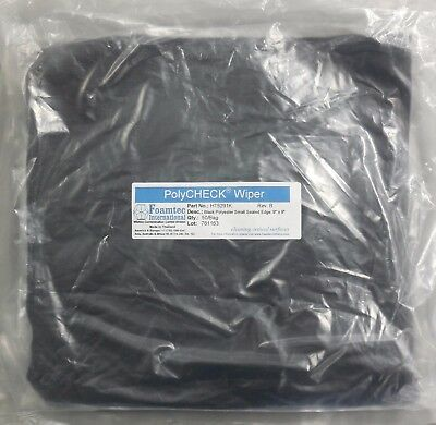 "Foamtec PolyCHECK™ Wipers; HT5291K, Black Polyester Small Sealed Edge 9"" X 9"""