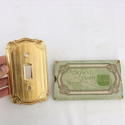 VTG Bryant Deluxe Solid Brass Light Switch Wall Plate Cover Rare NOS Toggle