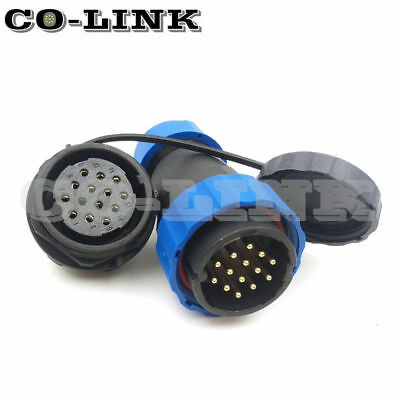 Ip67 14Pin Sd28Tp-Zm Waterproof Connector 14 Core Panel Mount Industrial Plug