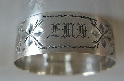 Antique Sterling Silver Napkin Ring Bright cut Childs size w Mono Newburyport co