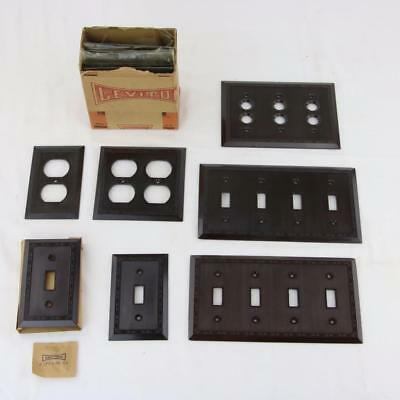 12 VTG Leviton Brown Bakelite Art Deco Light Switch Plate Outlet Covers Button