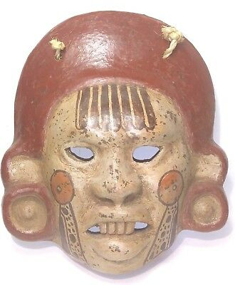 Mayan Royalty Mask Wall Hanging Rustic Terra Cotta Clay Pottery Mask from Mexico