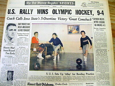 1960 headline display newspaper US WINS its 1st OLYMPIC ICE HOCKEY GOLD MEDAL