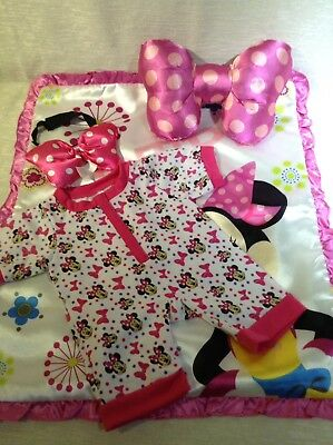 build a bear minnie mouse bedding set with onsie and head band picclick uk. Black Bedroom Furniture Sets. Home Design Ideas