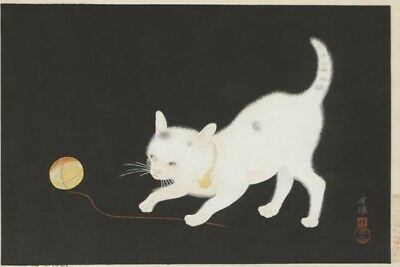 Antique Early 1900s JAPANESE WOODBLOCK Print Cat With Yarn SIGNED 9.50 x 14.25