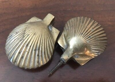 Pair of Antique Vintage Ornate Brass Knobs Victorian Art Deco Clam Shell