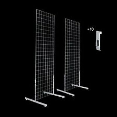 Only Hangers Gridwall Panels 2 x 5 with T-leg Stands and Utility Hooks Chrome
