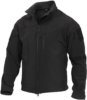 Black Tactical Stealth Ops Soft Shell Jacket Waterproof Military Coat