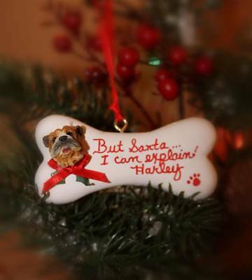 Cutest Handcrafted Bulldog Christmas Bone Ornament with Free Personalization