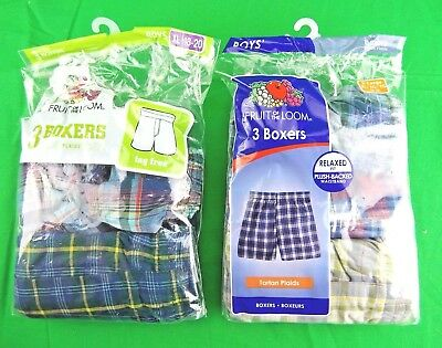 "Fruit of the Loom Boys' Tartan Woven Boxer (Pack of 5) ""XL"" *New*"