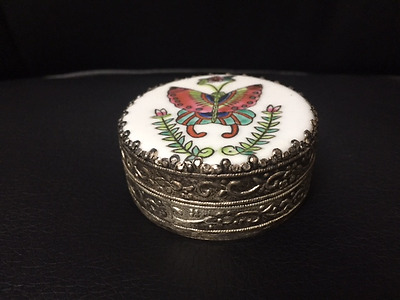 Vintage Hand Painted Butterfly Round Silver Trinket Box with Mirror in Lid - # L