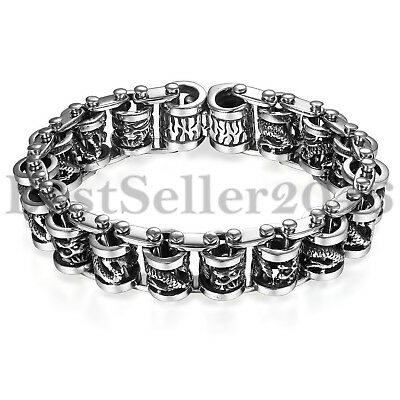 Masculine Mens Heavy Stainless Steel Gothic Dragon Cuff Bangle Biker Bracelet 9""