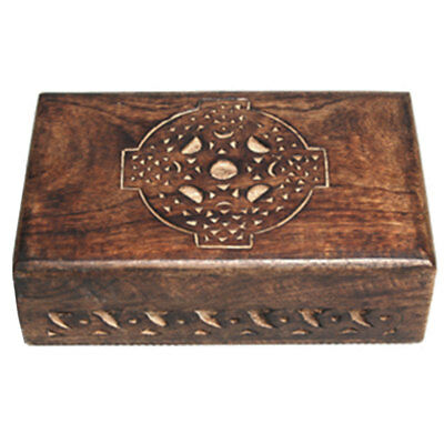 "NEW Celtic Cross Carved Wood Box 4x6"" Wooden Chest Tarot, Herbs or Trinkets"