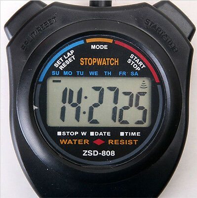 LCD Digital Handheld Chronograph Stopwatch Stop Watch Timer Counter with StrapAT