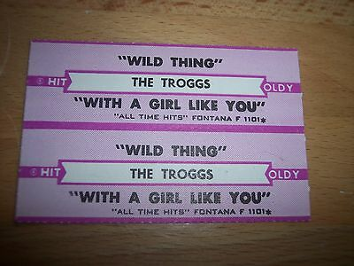 """2 Troggs Wild Thing / With A Girl Like Jukebox Title Strip CD 7"""" 45RPM Records"""