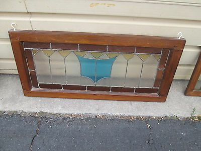 56954 Antique Leaded Stained and Texured Glass Window Original Sash circa 1910