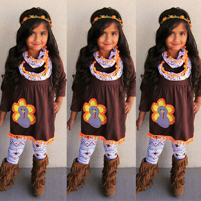 USA Turkey Thanksgiving Day Kids Baby Girl Outfit Clothes Tops+Leggings+Headband